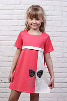 Трикотажное детское платье-туника для девочки украшенное кристаллами Swarovski