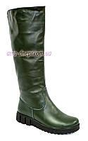 """Кожаные зеленые женские демисезонные сапоги на утолщенной подошве. ТМ """"Maestro"""""""