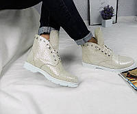Женские ботинки на шнуровке, натуральная кожа, бежевые / ботинки  женские кожа, стильные