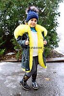 Шикарная зимняя парки с мехом финского песца лимонного цвета