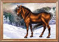Схема для вышивания бисером Конь на снегу