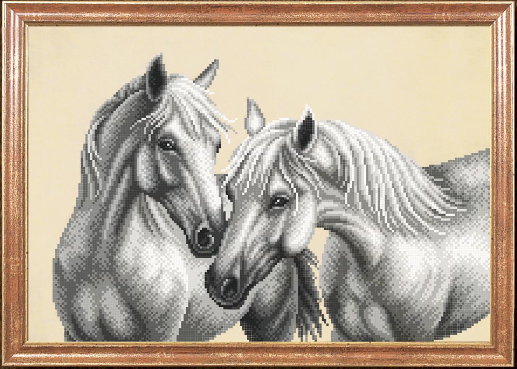 Схема для вышивания бисером Белые лошади