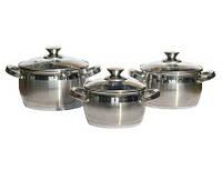 Набор посуды Lessner Apple 55859 3 кастрюли из нержавеющей стали с капсульным дном