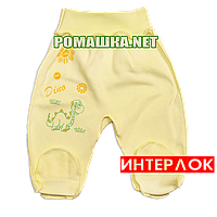 Ползунки (штанишки) на широкой резинке р. 62 демисезонные ткань ИНТЕРЛОК 100% хлопок ТМ Алекс 3165 Желтый1
