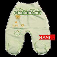 Ползунки (штаны) на широкой резинке с начесом р. 62 ткань ФУТЕР 100% хлопок ТМ Алекс 3180 Зеленый1