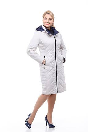 Белое стеганое пальто на осень весну 48-60 теплое, ниже колена, фото 2