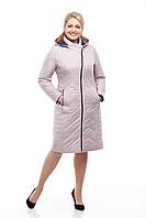 Длинная стеганная куртка теплая, цвет латте, на весну размер 46,48,50,52,54,56,58