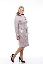 Длинное пальто стеганое куртка теплая, цвет латте, на весну размер 46,48,50,52,54,56,58 , фото 2