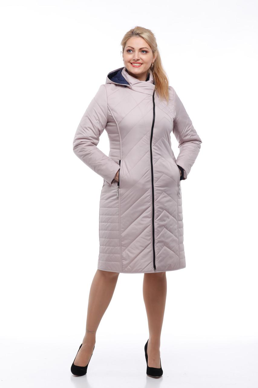Длинное пальто стеганое куртка теплая, цвет латте, на весну размер 46,48,50,52,54,56,58
