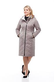 Утепленное пальто большого размера на весну, светлое (стальной цвет), размер 46-60