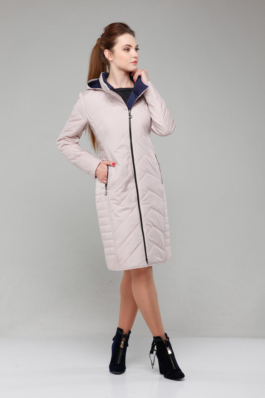 Утепленное пальто большого размера демисезонное, светлое (зефирный цвет), размер 46-58