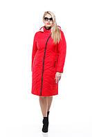 Пальто демисезонное женское красное, лайм большого размера 46-58 теплое