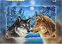 """Схема для вышивки бисером """"Пара волков"""", на холсте А2"""