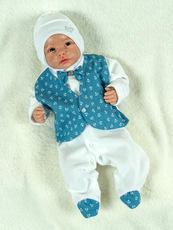 """Подарочный набор для мальчика """"Сеньор"""" белый с синим принт якорьки"""
