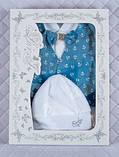 """Подарочный набор для мальчика """"Сеньор"""" белый с синим принт якорьки, фото 3"""