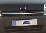 Ford Connect 2002-2006 гг. Накладки на решетку радиатора (1 шт, нерж.) Carmos - Турецкая сталь