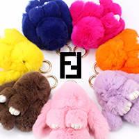 Брелоки кролики из меха в стиле FENDI