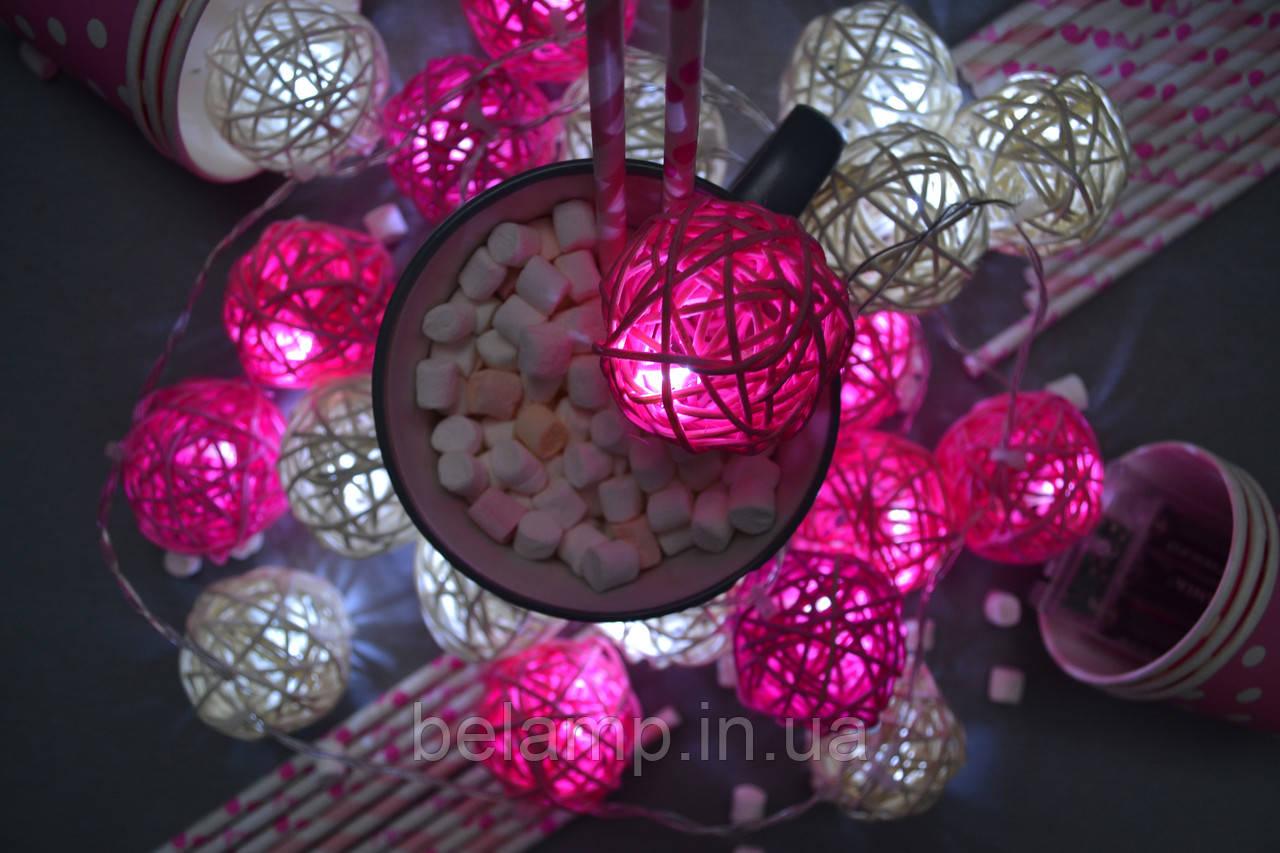 """Гірлянда на батарейках з плетених кульок """"Ніжний поцілунок"""""""