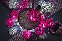 """Гірлянда на батарейках з плетених кульок """"Ніжний поцілунок"""", фото 1"""