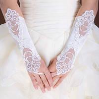 Свадебные длинные перчатки без пальцев (митенки) с кружевом