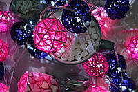 """Гирлянда на батарейках из плетеных шариков """"Яркие воспоминания""""."""