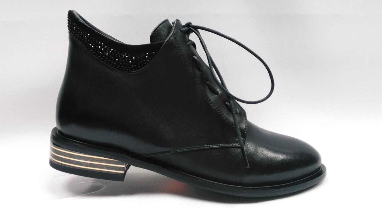 Черные кожаные  ботинки на молнии и шнуровке