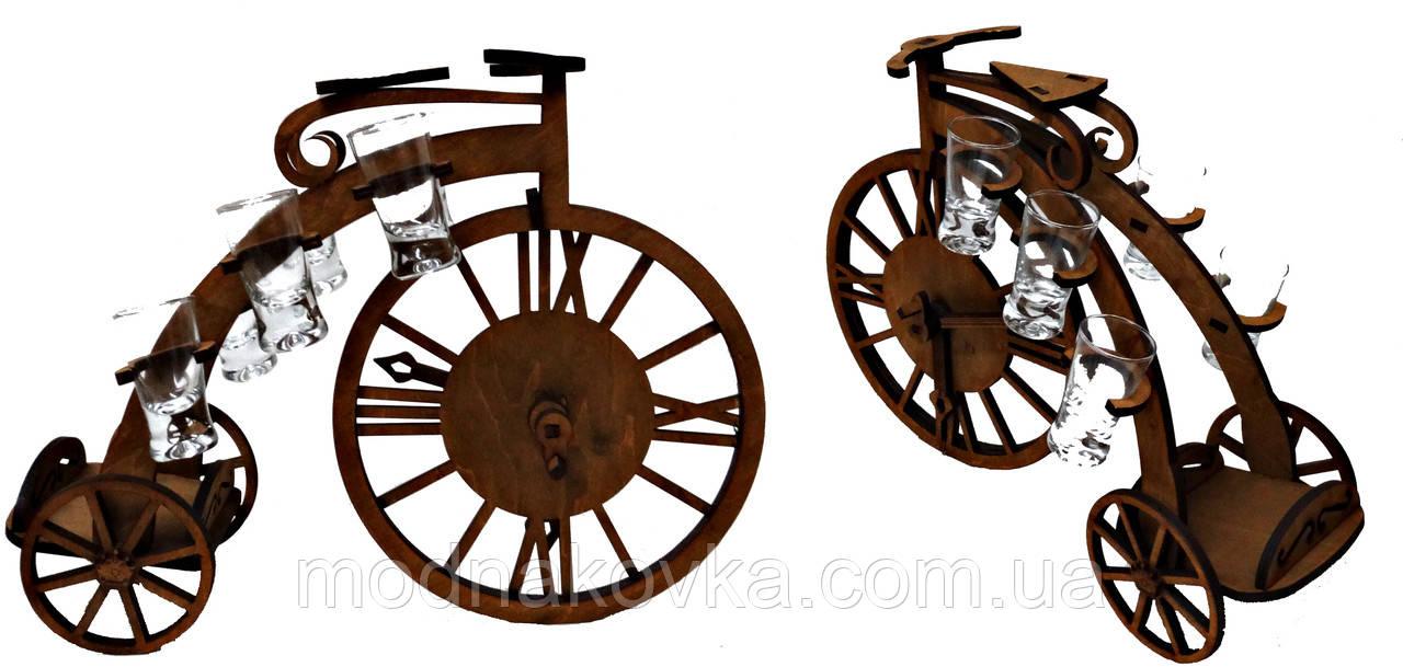 Мини-бар с рюмками деревянный Велосипед1