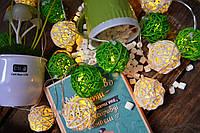 """Новогодняя гирлянда на батарейках из плетеных шариков """"Нежность чувств"""", фото 1"""
