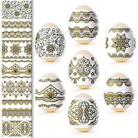 Наклейки на яйца Золотая роспись