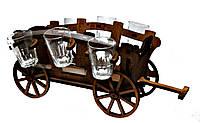 Мини-бар с рюмками деревянный Телега