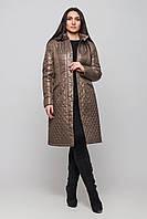 Весеннее теплое пальто стеганное большого размера, демисезонное женское 48-60 коллекция 2017