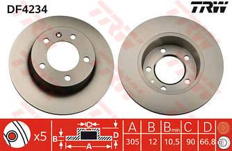 Гальмівний диск задній 305mm на Renault Master II 98->2010 — TRW (США/Німеччина) - DF4234