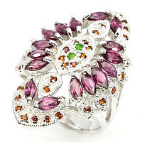 Массивное кольцо с гранатами родолитами и