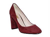 Женские замшевые классические туфли-лодочки на толстом каблуке (бордовые)