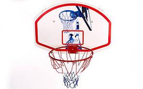 Щит баскетбольный с кольцом и сеткой (щит-PP р-р 90x60см, кольцо-сталь (12мм) d-42см)