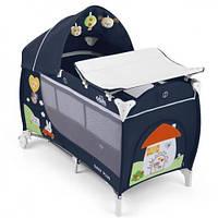 Детская кровать-манеж CAM Daily Plus синий с домиком C222