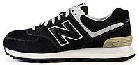 Женские кроссовки New Balance 574 Black (Нью Баланс) черные