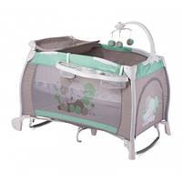 Детская кровать-манеж Bertoni iLounge 2L Rocker Green&Grey Elephants