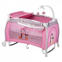Детская кровать-манеж Bertoni iLounge 2L Rocker Pink Penguin