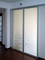 Межкомнатная перегородка со стеклом с рисунком