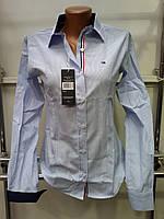 Стильная женская рубашка в полоску Th 85 голубого цвета