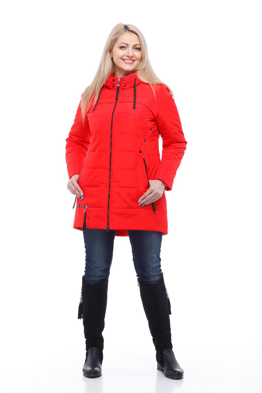 Теплая женская куртка демисезонная, по типу парка, размер 48-58, красный, серый, белый, синий