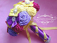 Желто-фиолетовый свадебный букет ручной работы