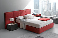 """Дизайнерская двуспальная кровать  """"Red""""  с мягким изголовьем в утяжках и прошитым прямоугольниками"""