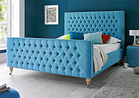 """Дизайнерська двоспальне ліжко """"Rainbow"""" з м'яким узголів'ям у утяжках"""
