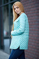Голубая утепленная стеганная куртка до бедра, коллекция 2017 весна, размер от 42 до 50