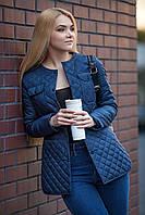 Стильный тонкий и теплый женский жакет-куртка на весну 2017, синий цвет, размер 42 - 50