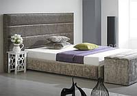 """Дизайнерская двуспальная кровать  """"Viva""""  с мягким изголовьем в виде прямоугольных плиток, фото 1"""