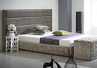"""Дизайнерская двуспальная кровать  """"Viva""""  с мягким изголовьем в виде прямоугольных плиток"""