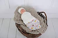"""Пеленка-кокон для новорожденного на липучках Half """"Капкейк"""" от 0 до 3 мес, фото 1"""